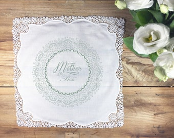 Mother of the bride handkerchief - non personalized wedding gift - hand illustrated 1 colour - Eucalyptus green - text as shown