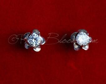 925 CZ Sterling Silver Bridesmaid Stud Earrings, Crystal Stud Earrings,  Cubic Zirconia Earrings, Bridesmaid Earrings, CZ Earrings