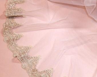 Gold Voile bridal veil, champagne veil, bridal veil, fingertip bridal veil, cathedral bridal veil
