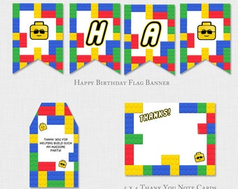 Lego Birthday Party Decoration, Building Block Boys Decor,Thank you note, DIY Printable PDF  Red, Green, Yellow, Blue