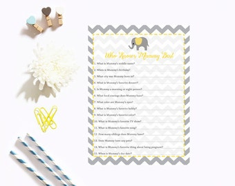 Yellow Elephant Who Knows Mummy Best, Baby Shower Who Knows Mummy Best, Yellow Gray Grey Chevron Instant Download PDF Printable