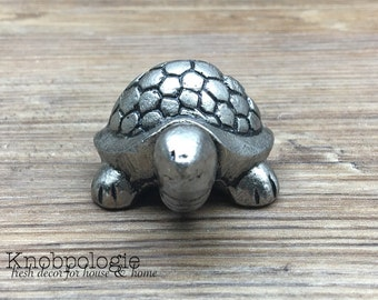 Turtle Drawer Pull - Antique Pewter Metal Turtle Shell Knob - Beach Nautical Drawer Pull - Ocean Bathroom or Nursery decor