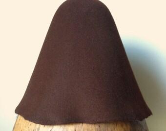 Millinery weight Fur Felt Hood - Chocolate
