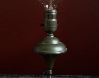 Vintage Antique Brass Mid Century Industrial Age Steampunk Lamp w/Vintage Style Edison Filament Globe Bulb