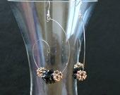 rose gold earrings, swarovski crystal earrings, beadwork earrings, beaded earrings, beaded jewelry, hoop earrings, swarovski crystal beads