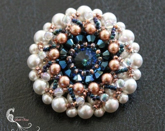 beaded brooch, pearl brooch, wedding brooch, brooches, rose gold jewelry, seed bead jewelry, crystal brooch, pearl jewelry, beadwork