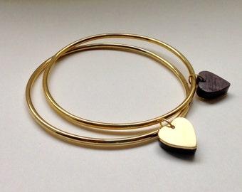 Vannucchi - 'Zia' Brass Bangle with Walnut and Brass Charm