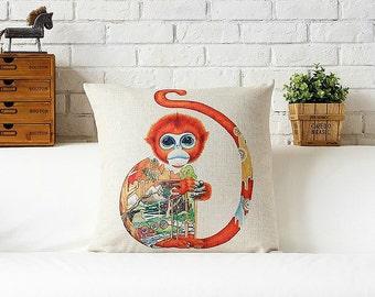 Monkey throw pillow case pillow cover