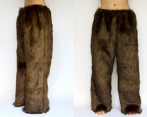 Faux Fur Pants, Handmade Satin Lined FREE SHIPPING Lounge Pants, Long Pants