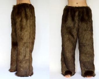 Faux Fur Pants, Handmade Satin Lined FREE SHIPPING Lounge Pants, Long Pants
