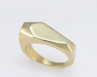 gold geometric ring,Geometric Gold Ring, Gold Signet Ring, Geometric Signet Ring.