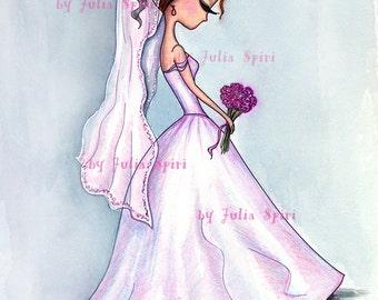 Digital Stamps, Digi stamp, Wedding stamp, Coloring, Bride, Bridal bouquet, Wedding dress, Romantic, The  Wedding Collection. Wedding Day