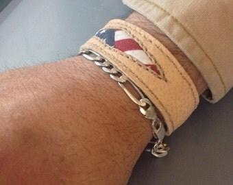 Americana Leather Wristband Hand Stitched USA flag