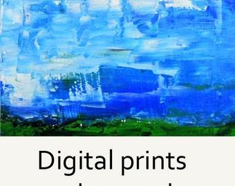 Digital Print. Blue Sky Landscape Painting - Wall Art Prints - White Clouds - No 70