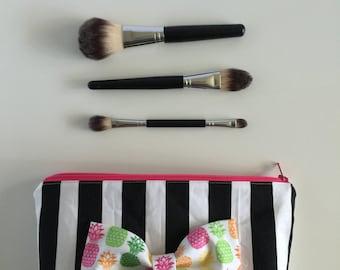 Makeup bag, Pineapple makeup bag, pineapple bow, zipper pouch, striped make up bag, pink zipper pouch, pineapple clutch #203