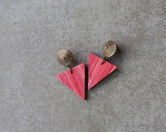 Geometric Earrings - Modern Triangle Earrings - Simple Everyday Earrings - Polymer clay earrings
