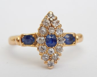 victorian engagement ring - marquise engagement ring in 18ct gold diamond and sapphire