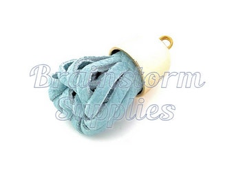 Tassel - Decorative Tassels - 6 Light Blue Tassels with Pale Gold Caps - Key Chain Tassel - Tassels for Jewelry -  Purse Tassel - TD-2G19