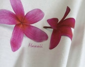 Pink Plumeria Flowers - T-shirt  – white cotton fabric, exclusive design – handmade in Hawaii