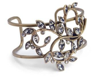 Vine Bracelet, Leaf Bracelet, Cuff Bracelet, Bridal Bracelet, Crystal Cuff, Cuff, Statement Bracelet, Bridal Jewelry, Wedding Bracelet BR496