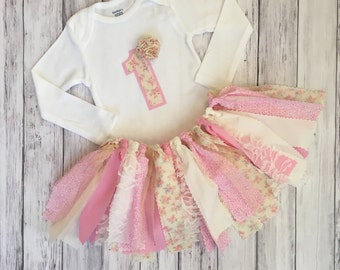 Shabby Chic First Birthday Outfit // Number Birthday Outfit // Vintage Birthday Outfit // Baby Girl First Birthday Outfit