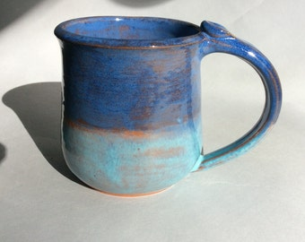 Double Blue Earthenware Mug