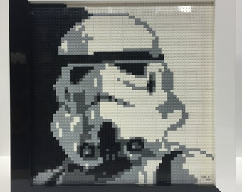 Lego Art - Lego Star Wars Stormtrooper Art - Original Star Wars Lego Art - Framed Lego Art, Framed Star Wars Art - Free US Shipping, Only 1
