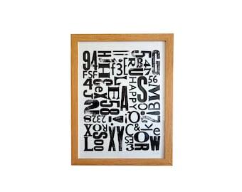 Poster, letter composition, black and white, letterpress, 30 x 40 cm.