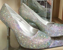Customised crystal bling low heel wedding shoes prom shoes special occasion shoes hand customised shoes crystal shoes