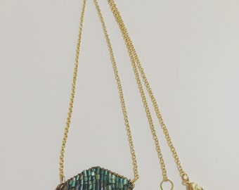 Recycled Teal Pendant Gold Necklace
