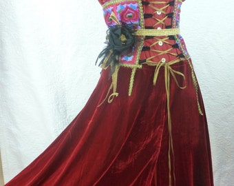 Princess Steampunk, Victorian dress, Gothic, red velvet silk deep, lace and feminine, Red, wearable art