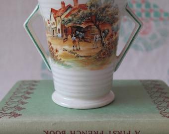 SALE Lancaster & Sons Vase / Antique Ceramic Vase / The Village Blacksmith / Hanley England Earthenware / Pre 1910