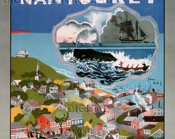Take me to Nantucket Digital Vintage Travel Ad for Hartford Railroad Downloadable art prints Martha's Vinyard Art by John Weld Jr 1920s