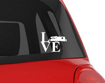 "Vinyl Decal, RV, Airstream Air Stream Travel Trailer Silhouette ""LOVE"" Vinyl Decal Can Be Personalized! RV, Travel Trailer, Car"