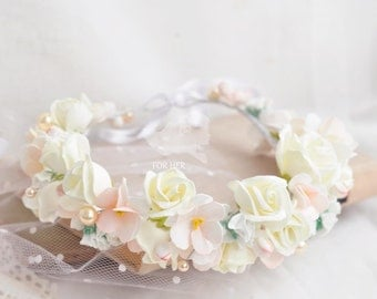 Cream Flower Bridal Crown Hair Wreath Wedding Hair Accessory Floral crown wedding flower crown flower crown wedding crown floral head wreath