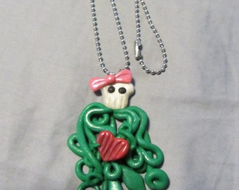Polymer Clay Jewelry Sugar Skull Squid Pendant Green Ball Chain Necklace
