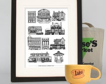 Houses of Stars Hollow, Gilmore Girls, A4 cityscape print, Luke's Diner, Gilmore girls poster, architectural print