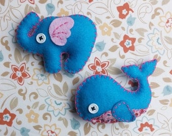 Whale and Elephant Magnet set