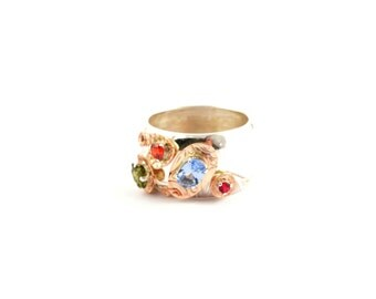 Ring stelring silver red gold blue aquamarine green peridot red zirconia