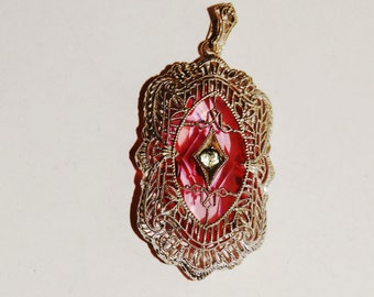Victorian 925 Sterling Silver White And Large Faceted Pink Stone Filigree Pendant.