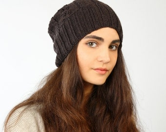 Knitted hat, Merino hat, Brown beanie, Knitted merino beanie, Black slouchy, Knitted black beanie, Knitted slouchy beanie