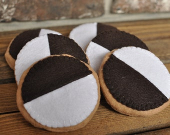 Felt Black and White Cookies - Felt Food for Pretend Play
