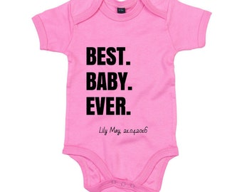 Personalised Baby Grow, Name and Date of Birth. Novelty New Born, Christening Gift