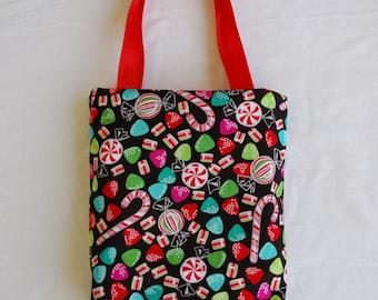 Christmas Fabric Gift Bag/ Secret Santa Bag/ Holiday Goody Bag- Christmas Candy