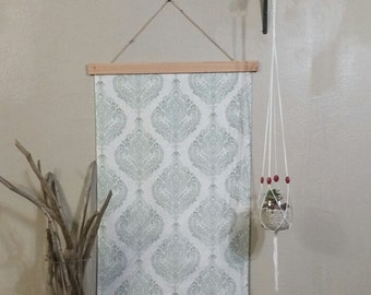 Bohemian Tapestry - Mint and White Damask