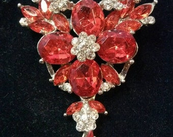 Brilliant Red Rhinestone Brooch