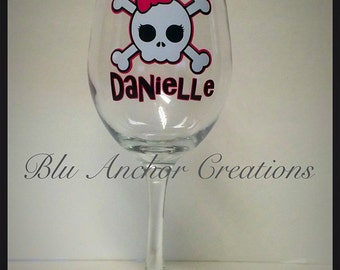 Skull Wine Glass, Skull with Bow Wine Glass, Personalized Gift