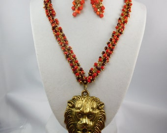 """Fall Jewelry,Lion Pendant Necklace,Red Dangle Necklace,Statement Necklace,Red & Gold,Dangle Earring,Jewelry Set,OOAK,Plus Size,19"""" necklace"""