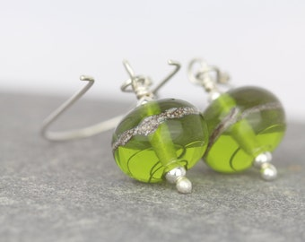 Lime green earrings ~ Sarah Downton beads ~ party celebration ~ one of a kind ~ beautiful beads ~ long dangle earrings