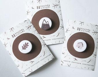 brown forest badges. set of 3